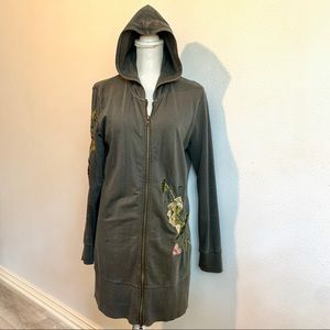 BCBG Maxazria embroidered hoodie extra long Sz L